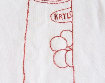 Baby vest, romper suit, freemotion sewing, baby shower gift, embroidered Krylon graffiti  Spray Paint Can, Romper suit, Graffiti vest
