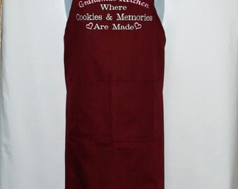 Grandmas Kitchen Apron, Where Cookies And Memories Are Made, Custom With Gram, Nonnie, Oma, No Shipping Fee, Ready To SHIP TODAY, AGFT 973