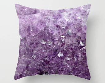 Home Decor, Decorative, Throw Pillow, Amethyst Sparkles, Mineral, Geode, Purple, Nature Photography by RDelean