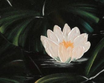 Oil Painting, Original Portuguese Art Work, Waterlilies