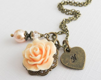 Personalized peach rose necklace, flower girl initial necklace, junior bridesmaid gift, vintage style floral wedding jewelry