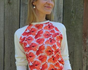 Women sweatshirt with flowers. Poppies
