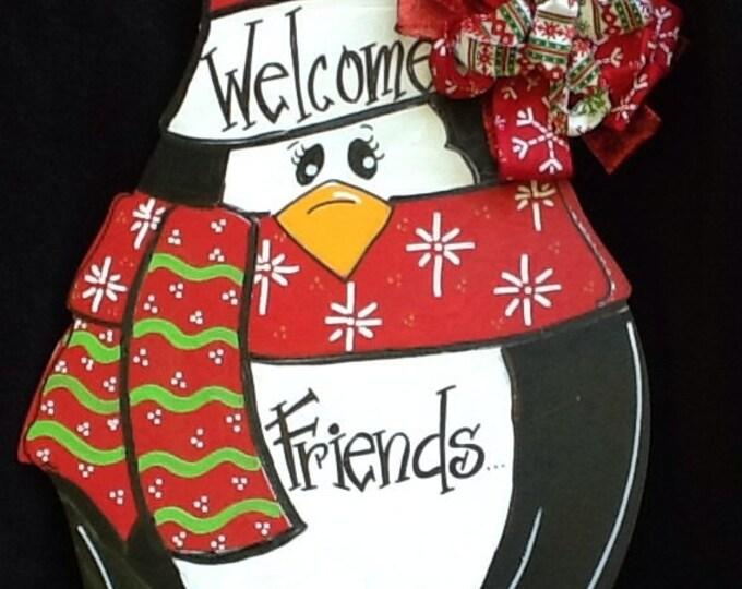 Penguin door hanger, christmas door hanger, penguin sign, penguin door sign, christmas sign, welcome friends sign, Santa sign, snowman sign