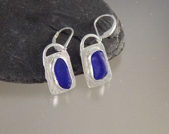 cobalt blue sea glass earrings in fine silver