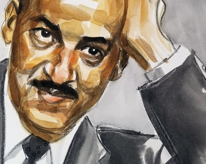 Thurgood Marshall, 11 x14 inches, watercolor and crayon on cotton paper by Kenney Mencher