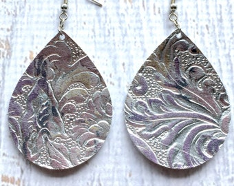 Leather Teardrop Earrings - Silver with Iridescent Embossing