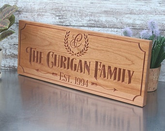 Custom Engraved Family Name Wood Sign, Personalized Wooden Plaque, Rustic Wedding Sign, Engraved Name Sign, Benchmark Signs, Cherry BA