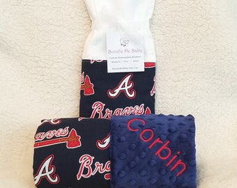 Cleveland Indians Baby Blanket Minky Name Embroidered Gift Set