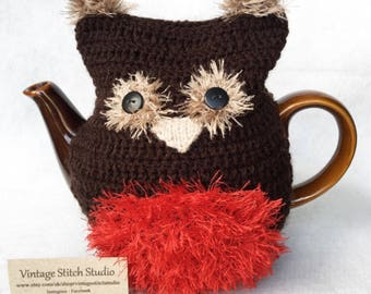 Robin Tea Cosy - Teapot Cosy - Christmas Robin - Knitted tea cosy - Robin Tea Cosy - Tea Cozy - Hand Knitted Tea Cosy - Teapot - Tea