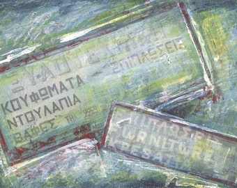 Traditional Greek Carpenter's Shop Signs - Original Mixed Media Painting - Greece Paintings
