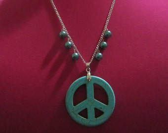 Turq Peace Sign Necklace