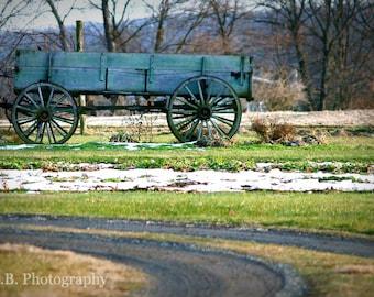 "Blue Wagon - 9 x 12"" print - high quality fine art - wall decor - original photography"