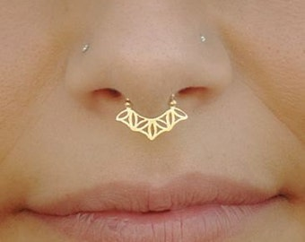 Sacred Geometry Fake Septum Ring Gold, Nose Cuff, Faux Septum, Fake Nose Ring, Septum Cuff, Fake Septum Jewelry