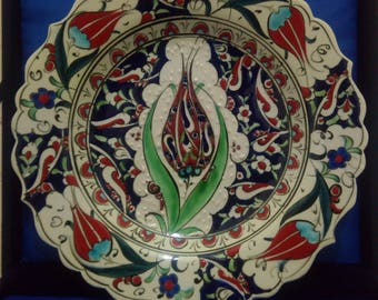Handpainted Turkish Kutahya Porcelain Ceramic Plate