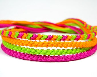 Tangy Neon Friendship Bracelet Set in Lime, Orange, and Magenta