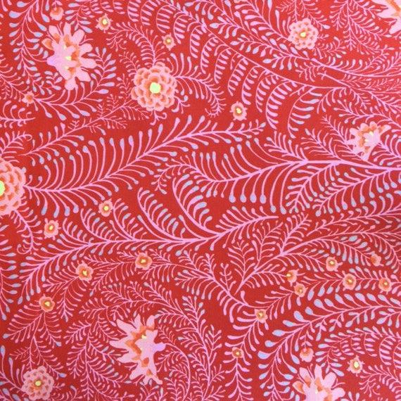 FERNS RED Per 1/2 yd  GP147 Fall 2014  Kaffe20 Fassett Fabric sold in 1/2 yd increments