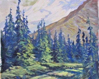 Vintage Oil Painting Mountains with Trees on a Dirt Road