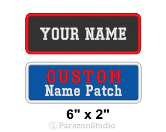 """Custom Embroidered Name Tag Sew on Patch Motorcycle Biker Badge 6"""" x 2"""" (A)"""