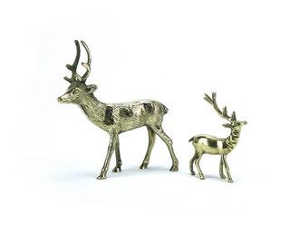 FREE SHIP! Pair of Vintage Brass Deer Stag - Gold Hollywood Regency - Christmas Wedding Baby Shower Woodland Animals - Mid Century Buck Hunt