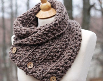 Sale! READY TO SHIP Hand Knit Boston Harbor Scarf, Shawl, Shoulder Wrap in Taupe with 3 Coconut Buttons, Office Snuggy