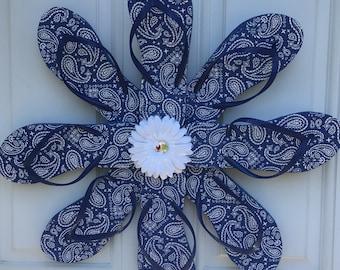 Blue Paisley flip flop wreath