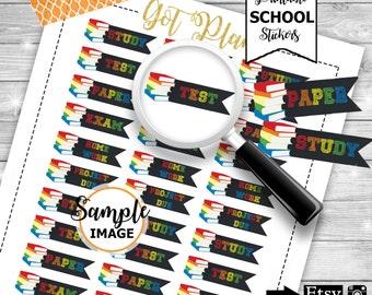 School Stickers, Chalk Inspired Planner Stickers, Printable Planner Stickers, School Planner Stickers