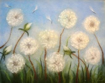 Dandelion, Dandelion wall art, Gift for her, Dandelion art, Dandelion painting, Dandelion flower, Dandelion decor, Dandelion framed art
