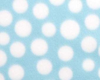 White Dots on Light Blue 59-inch Fleece Fabric by the yard