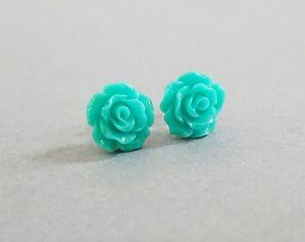 Turquoise Small Open Rose Beautiful Bloom Flower Earrings