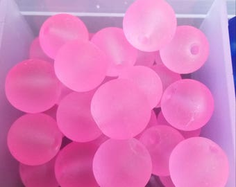 10 pearls light pink frosted glass 10mm round
