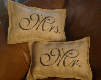 Set of 2 Burlap Mr. and Mrs Wedding Pillows
