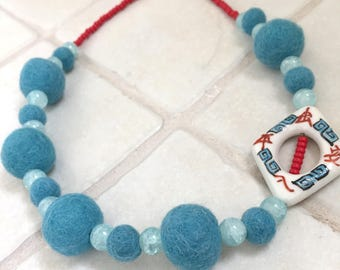 Aqua Felted Wool Beaded Necklace
