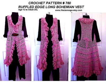 Crochet PATTERN, - Ruffled Edge Long Vest -, circular vest, child, adult, pdf digital download # 760