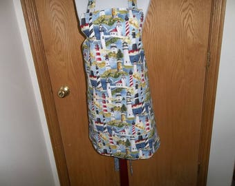 Apron Lighthouse Apron Womens Full Reversible Lighthouse Apron, Pockets Kitchen Chefs Cooking Baking Apron Novelty Apron Mothers Day Gift