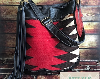 SHIPS TODAY Navajo & Black Leather Hobo w/ Fringe and Feather