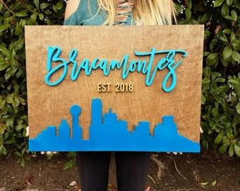 City Skyline Name Sign- Personalized | Custom | Travel | Wood Sign | Custom Shape Sign | Wanderlust | Family Sign | Established | Weddingn