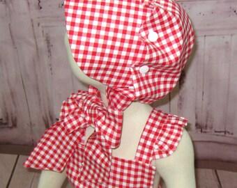 Ruffle Bonnet, Red Bonnet, Button Bonnet, Gingham Bonnet, Red and White Baby Bonnet, Toddler Hat, Toddler Bonnet, Vintage Style Bonnet