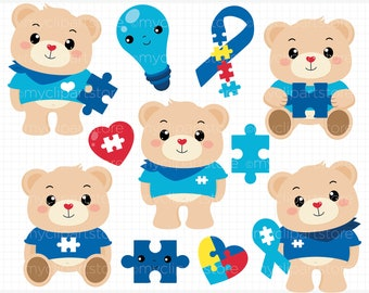 Autism Clipart, Autism Bears, Bear Clipart,  Autistic, Autism Awareness Day, Ribbon, Teddy Bear, forest animals, vector clipart, scrapbook