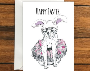 Happy Easter Bunny Cat Blank greeting card A6