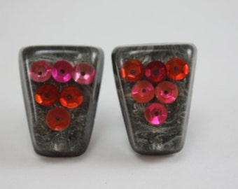 Vintage Confetti Lucite Earrings