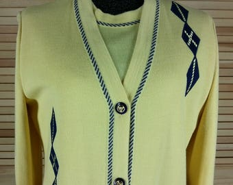 Vintage 90s Belmonde sweater set yellow cardigan and shell argyle embroidery size 12
