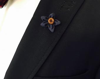 Navy Blue Lapel Pin, Wedding Lapel Pin, Mens Lapel Pin, Custom Lapel Pin, Flower Lapel Pin, Boutonniere