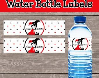Harley Quinn water bottle labels