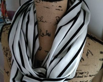 Snood scarf striped black new and handmade!