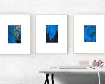 Abstract Acrylic Painting Set Small Painting Wall Art Original Paintings on Canvas 5 x 7 Black Blue Gold Art Gift Set Canvas Board Textured