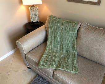 Pale Green Popcorn Striped Afghan