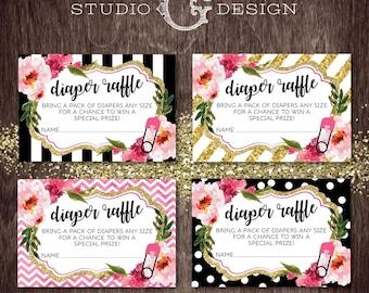 DIAPER RAFFLE Baby Shower Black Stripe Gold Glitter Floral Kate  --  Digital Printable File