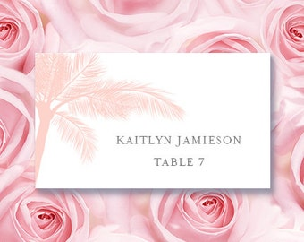 """Place Card Printable Template """"Palm Tree"""" Blush Pink 