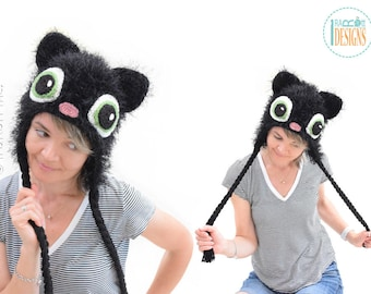 CROCHET PATTERN Sassy the Kitty Cat Hat PDF Crochet Pattern with Instant Download
