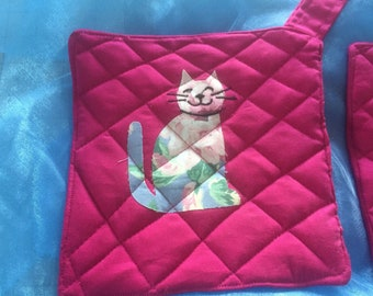 Potholders, hotpads, quilted cat potholders, applique cat potholder,happy cat hot pads, set of two, kitty pot holder, cat lover potholders